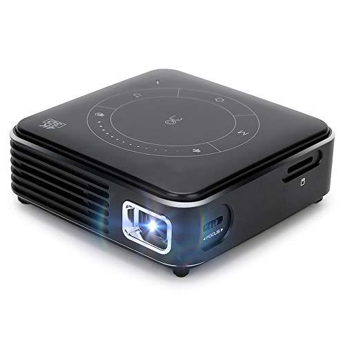 Mini proiettore portatile con decodificatore 4K con treppiede, progetto mini riproduttore video domestico 3000mAh, videoproiettore multifunzione DLP tecnologia video(EU)