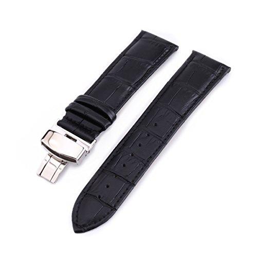 NICERIO Correa de Reloj de Cuero de 22 mm con Cierre de Mariposa para reemplazo de Banda de Reloj Tradicional o Inteligente (Negro)
