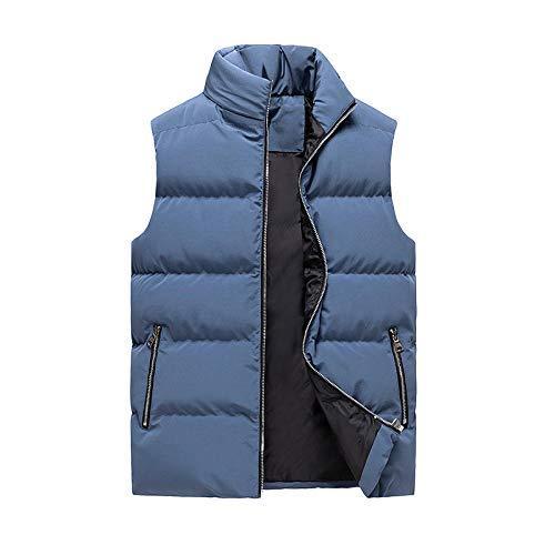 SDAFSA Chaleco para hombre, chaqueta sin mangas, chaleco para otoño e invierno, chaleco masculino, abrigo, cuello alto, chaleco grueso, chaleco cálido azul XL