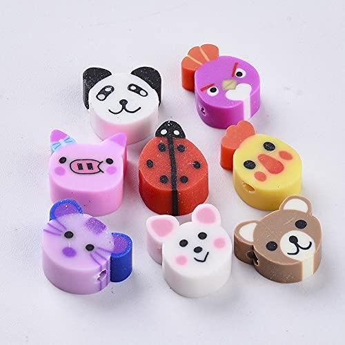 PandaHall 50 cuentas sueltas hechas a mano de arcilla polimérica de animales cortadas cerdo Ribbit Bird Ladybug Spacer para hacer pulseras y collares de joyería, colores mezclados al azar