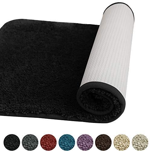 Deconovo Badezimmerteppich Mikrofaser Badematte rutschfest Badteppich Duschvorleger Wasserabsorbierend für Kinder 50x80 cm Schwarz