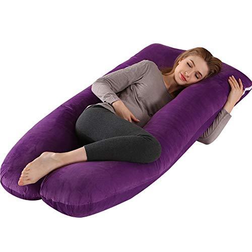 Almohada de embarazo con funda de terciopelo, almohada de maternidad en forma de U de 70 x 130 cm, para mujeres embarazadas, adultos, soporte completo para el cuerpo (morado)