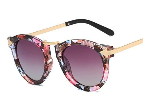 HUBINGRONG Polarizador Aolly Outdoor Seaside Sunscreen UV400 Arrowhead Gafas de Sol Hipster Tinted Sunglasses Retro (Color : Floral Fading Gray)