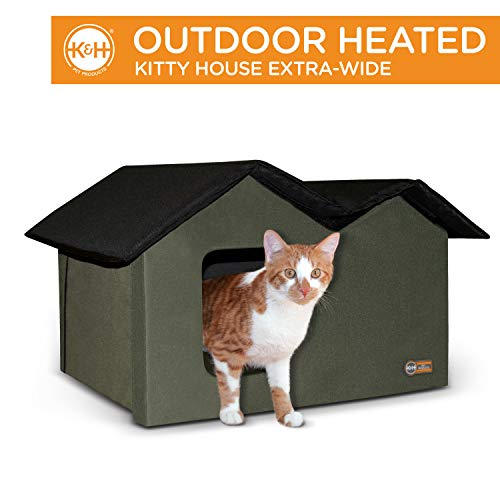 K&H Pet Products Outdoor Heated Kitty House Extra-Wide Olive/Black 26.5' x 15.5' x 21.5' 20W
