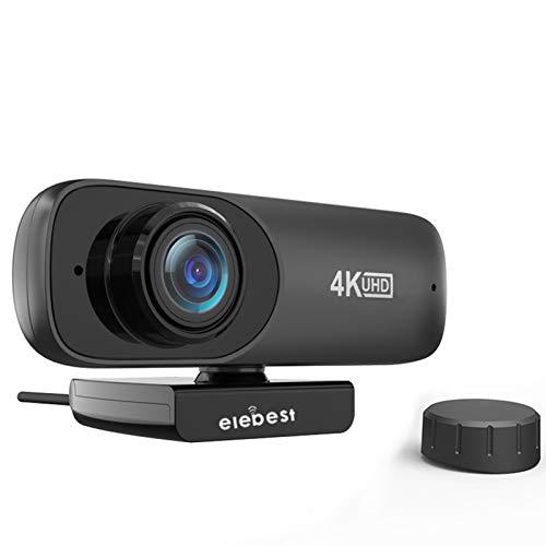 HXCH Cámara web con micrófono, 4K HD Streaming USB Webcam con cubierta de privacidad, [Plug and Play] [30 fps] para PC videoconferencia/llamadas/juegos