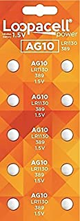 LOOPACELL 10 Pack AG10 Alkaline Watch Batteries - LR1130, SR1130W, 389, 189