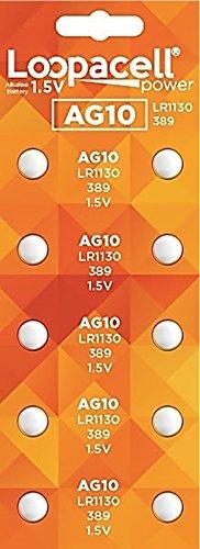 LOOPACELL 10 Pack AG10 Alkaline Watch Batteries - LR1130, SR1130W, 389, 189