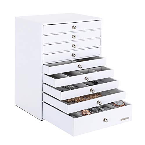 Seelux Jewellery Box, Extra Large Jewellery Storage Organiser, 9 Drawers with 9 Board Support, Faux Leather Jewelry Case for Rings, Earrings, Necklaces, Bracelet, Watches, Gift Case, White, Reusable
