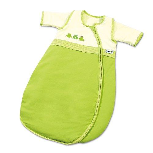 Gesslein Bubou Design 022: Temperaturregulierender Ganzjahreschlafsack/Schlafsack für Babys/Kinder, Größe 110, Grün mit Eulen