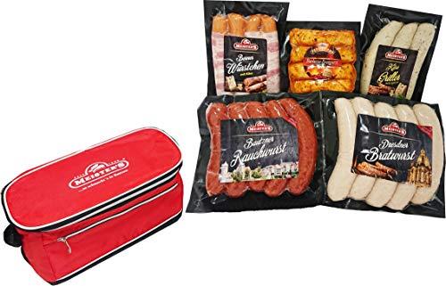 Dresdner Bratwurst Grillpaket Berner Würstchen mit Emmentaler Käsegriller Gourmet Bratwurst mit Spinat, Rauchwurst mit Gratis Grill Zubehör Kühltasche