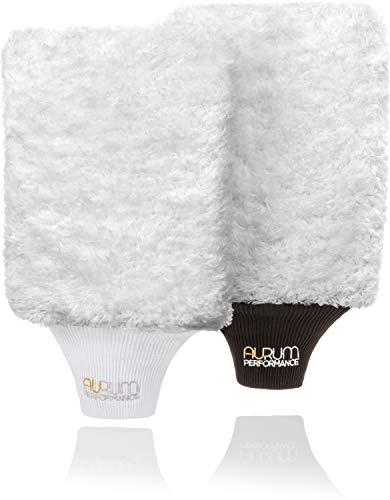 Aurum-Performance® Profi Autowaschhandschuhe aus weicher und saugfähiger Microfaser - Auto Waschhandschuh für schonende und effektive Autopflege (2er Set)