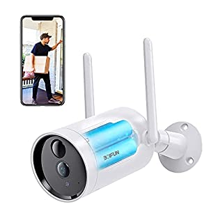 Security Camera Outdoor CCTV Camera Wireless, BOIFUN 1080P Resolution, 10400mAh Rechargeable Battery Powered, Wifi, IP66 Waterproof, Motion Human Detection, Night Vision, 2-Way Audio, SD/Cloud Storage