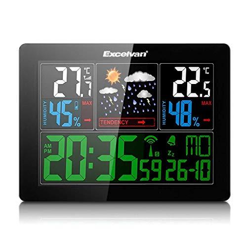 Excelvan Relojes Estaciones meteorológica con Pantalla LED Interior/Exterior inalámbrico con Sensor Exterior (barómetro) con Alarma