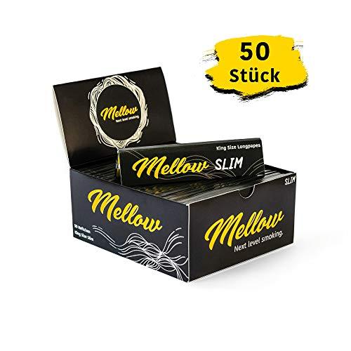 Mellow® King Size Slim Papers | 50 Heftchen | je 32 Blatt | Longpapes | Langes Zigarettenpapier