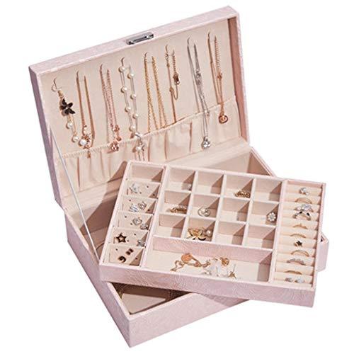 WM home Desktop-Schmuck-Box, Dame Schmuck-Box, Double Layer Wasserdicht Wear-Resistant Gurtschloss, for Hochzeit, Geburtstag, Schlafzimmer, Bankett (Color : Pink)
