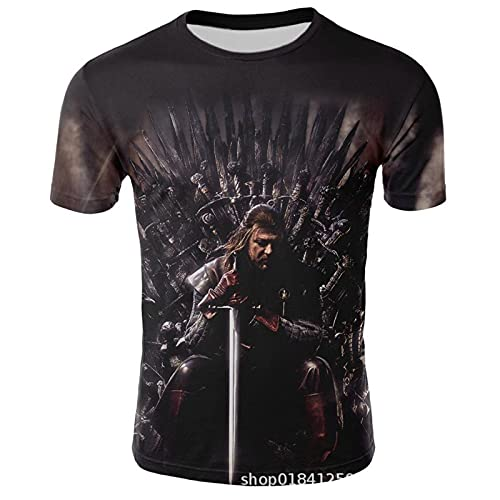 YOILYDI-Game of Thrones-Unisex 3Dt Shirt, Interesting Pattern, Breathable Polyester Material,Slim Polo Shirt,Boy Street Clothes-XL