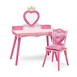 Wildkin Kids Princess Wooden Vanity and Chair Set for Girls