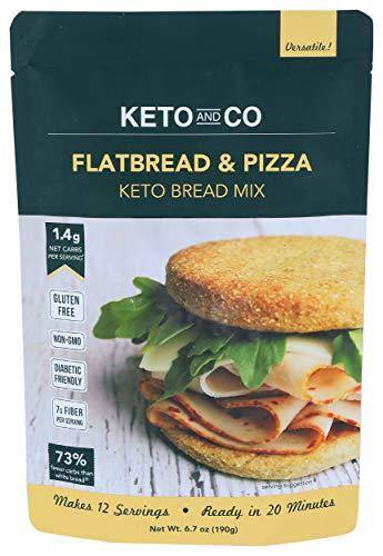 Keto and Co - Masa para pan y pizza - Baja en carbohidratos, alta en fibra - Sin gluten ni OGM - Perfecta para diabéticos y dieta cetogénica - Lista en 20 minutos - 190g