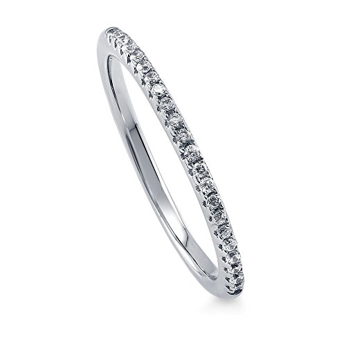 BERRICLE Rhodium Plated Sterling Silver Wedding Half Eternity Band Ring Made with Swarovski Zirconia Size 6
