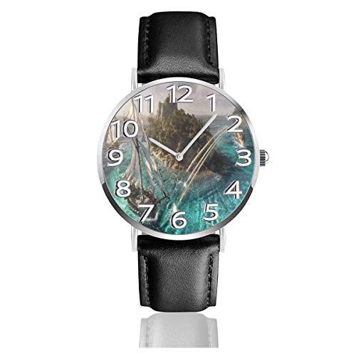 Reloj de Pulsera Skull and Bones Steam Durable PU Correa de Cuero Relojes de Negocios de Cuarzo Reloj de Pulsera Informal Unisex