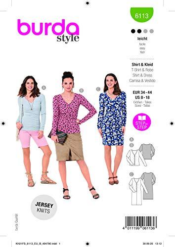 Burda 6113 Schnittmuster Shirt und Kleid (Damen, Gr. 34-44) Level 2 leicht
