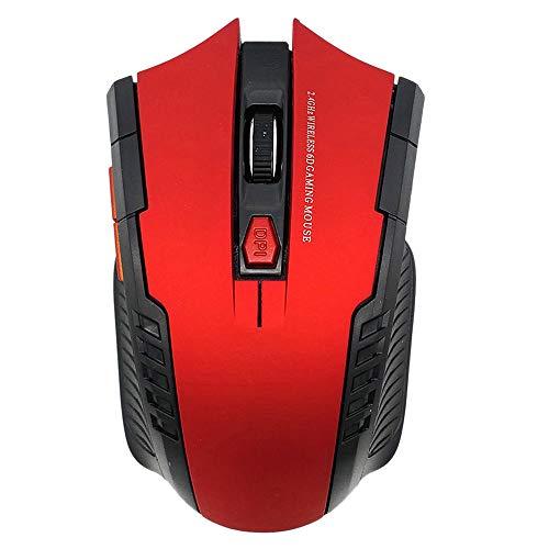 Iycorish Draadloze muis, 2,4 GHz, met USB-ontvanger, voor optische gaming-muis, PC, zonder batterij, kunststof, zwart, Rood