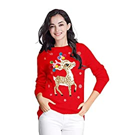 v28 Varied Ugly Christmas Sweater for Women Merry Reindeer Shirt Knit Sweaters 11 Ugly Christmas Sweater for Women Decorated with Happy Reindeer Santa Penguin elf cat dog Deer Snowman Made of Soft Acrylic Christmas Sweaters for Women Pullover Vest and Cardigans in XS S M L XL XXL XXXL 2XL 3XL Plus size Oversized Black Red White Pink Blue Green V28 Cute Christmas Sweaters for Women Pullover Vest and Cardigans best for ladies Girls Family Wife.