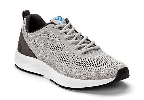 Vionic Men's Fulton Tate Sneakers - Walking Shoes with Concealed Orthotic Arch Support Grey 13...