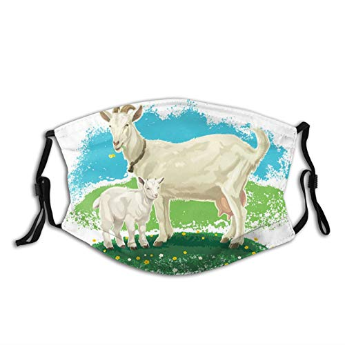 Funny Animal Cute Goat Face Mask With Filter Pocket Washable Face Bandanas Balaclava Reusable Fabric Mask For Men Women