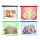 4 Unids 1500 ml de Silicona Reutilizable Bolsa de Almacenamiento de Alimentos, craftsman168 Sellado Resistente a Fugas Contenedor de Preservación de Alimentos para Frutas Carne Frigorífico