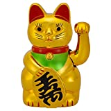 Koicaxy Lucky Cat, Maneki Neko Waving Arm for Fortune Money and Good Luck, Fengshui Lucky Cat Swinging Arm Battery Operated