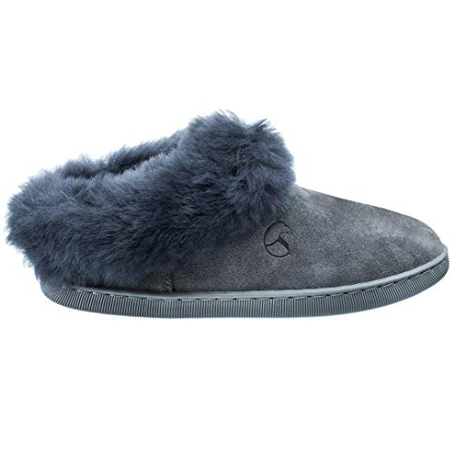 Estro Damen Hausschuhe Lammfell Pantoffeln Damen Leder Warm Winter Lammfellhausschuhe mit Wolle Royale (Grau 2, Numeric_40)