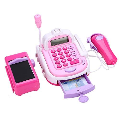 QuRRong Caja Registradora de Juguete Pretender Play House Toy Simulación de niños Supermercado Cash Register con Scale Electronic Kid Game Toys Pink para Niñas Niños Pequeños