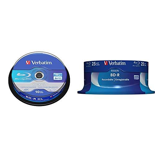 Verbatim BD-R Blu Ray Disc 50 GB, 6X, Dual Layer Recordable, Confezione da 10 & Datalife 6x BD-R 25GB 25pezzo(i)