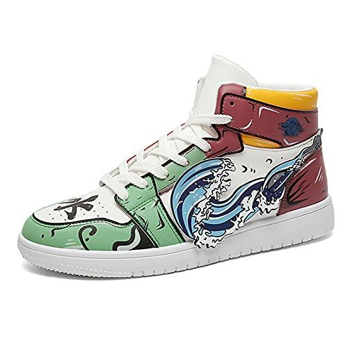 Zapatillas de Baloncesto Demon Slayer Anime, Tomioka Yoshiyuki Zapatillas de Baloncesto con Estampado de Dibujos Animados Zapatillas Cosplay con Cordones Zapatos Casuales Unisex 37-44