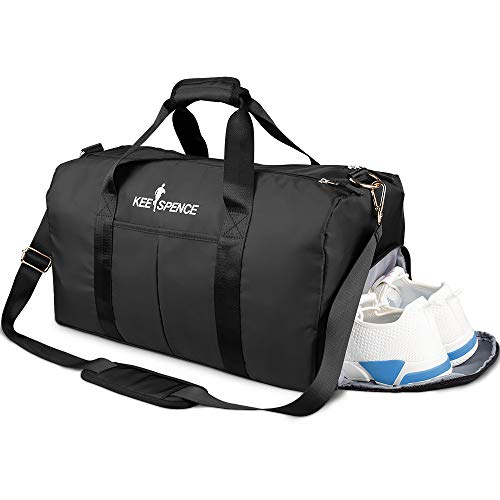 Gym Duffle Bag, with Shoe Compartment and Wet Pocket for Men or Women Swim Sports Travel Gym Bag, 19.3 inch (Black)