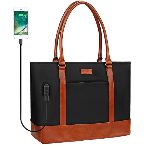 Laptop Tote Bag for Women, USB Laptop Tote Bag, Teacher Bag, Waterproof Leather Laptop Bag Fit 15.6 Inch Laptop (Black Brown)