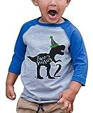 7 ate 9 Apparel Kid's Two 2 Second 2nd Dinosaur Birthday Blue Raglan Tee 2T