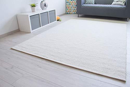 Steffensmeier Handweb Teppich Walchsee | Wolle (Schurwolle), Natur Hell, handgewebt, Größe: 60x110 cm Wohnzimmer und Schlafzimmer