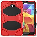 TTYYNN Funda resistente para tablet Samsung Galaxy Tab A 10.1 2016 T585 T580 Funda de silicona suave PC contraportada Kickstand caso,rojo