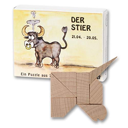 Bartl 102655 Mini-Sternzeichen-Puzzle Stier - Holzpuzzle aus 7 Teilen