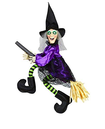 Widmann 01395 - sprechende Hexe auf Besen, mit leuchtenden Augen und strampelnden Beinen