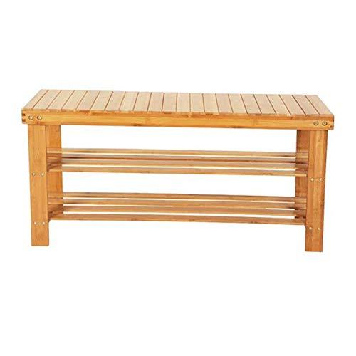 Lshbwsoif Zapatero 90 cm 3 niveles bambú taburete zapatero color madera para armario ordenado pasillo dormitorio
