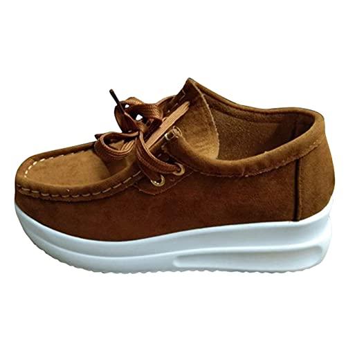 URIBAKY - Zapatos planos de piel mocasines con fondo blando, zapatillas de running en carretera, exterior, running, fitness, transpirables, Marrón (marrón), 39 EU