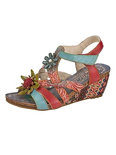 Laura Vita Sandali con motivo floreale multicolore, (multicolore), 38 EU