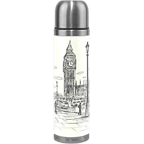 Like-like Dessiné À La Main London City en Acier Inoxydable Bouteille d'eau Aspirateur Isolé Thermos Double Flacon Flacon Véritable Couverture en Cuir