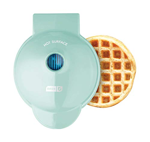 Dash DMW001AQ, Mini Waffle Maker Machine for Individuals, Paninis, Hash Browns, & Other On the Go Breakfast, Lunch, or Snacks, with Easy to Clean, Non-Stick Sides, 4 Inch, Aqua
