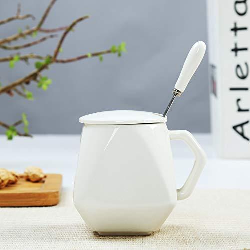 Nobranded Tasse Créatif Tasse en Céramique Tasse Lait Petit Déjeuner Café Tasse 201-300ml Cuillère à Couvercle Blanc Brillant Diamond Cup
