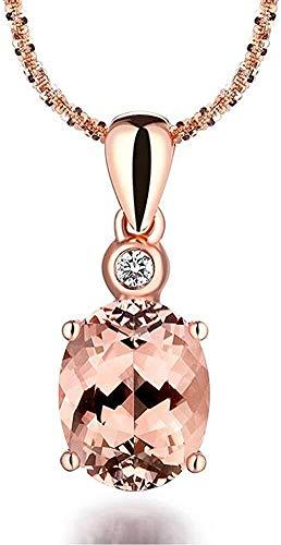 necklace Ladies fashion Fashion 2.3ct Genuine pink brown MORGANITE gem diamond wedding 9CT Promise solid rose gold pendant female Hoisting