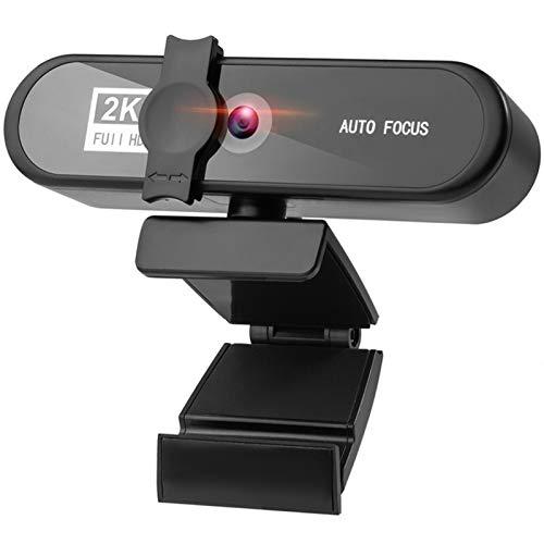 Webcam 1080p 2K 4K Conferencia PC Webcam AutoFocus USB cámara Web Laptop Desktop For Office Meeting Home con Mic 1080P HD Web CAM Webcam con Microfono para Pc (Color : 2K Webcam)